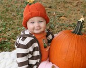 Baby Pumpkin Hat w/Tendrils and Pumpkin Blossom - 6-18 Months