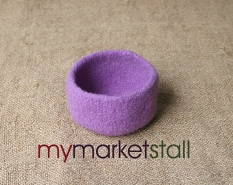 Felted Dark Lavender Bowl - In Stock - Ready to Ship