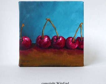 Cherries fruit painting original still life food art with Chocolate covered cherry candy