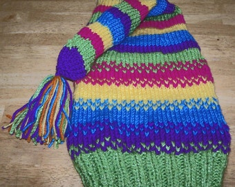 Colorful hand knit stocking hat
