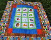 Ready to Ship Brown Bear Quilt for Boy or Girl Crib or Toddler Size