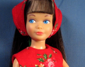 Skipper Clothes - Red with Pink Flower Print Christmas Outfit