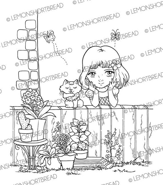 Digital Stamp Garden Girl with Cat, Digi Coloring Page, Summer Floral Flowers, Scrapbooking Supplies, Clip Art, Instant Download