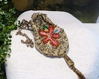 Beautiful Antique Reproduction Beaded Embroidered Handbag  From 1992 New Old Stock