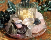 Candleholder with Rose Quartz, Crystal Quartz, Pink Opal, Topaz, Pink Tourmaline, Chalcopyrite & Agate, Home Decor, Metaphysical