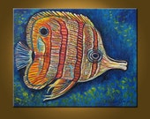 Butterfly Fish, A Jewel -- 24 x 30 inch Original Oil Painting by Elizabeth Graf on Etsy, Art Painting Art Collectibles