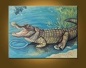 Mr. Alligator -- 38 x 50 inch Original Oil Painting by Elizabeth Graf on Etsy -- MAKE an OFFER, Art Painting