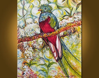 Resplendent Quetzal -- 24 x 30 inch Original Oil Painting by Elizabeth Graf on Etsy, Art Painting Art & Collectibles