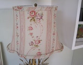 Vintage Lampshade American Folk and Fabric Pattern Curved Bell Shade