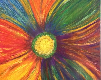 "Pastel acrylic drawing sunflower mat board multi color rainbow flower floral garden art 12""x12"""