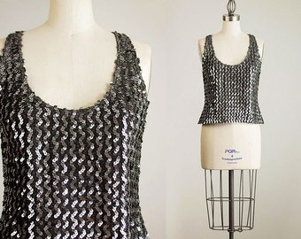 80s Vintage Gunmetal Silver Sequin Stretch Tank Top / Size Medium