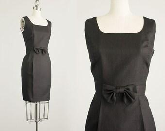 90s Vintage Laura Ashley Linen Black Bow Fitted Shift Mini Dress / Size Medium