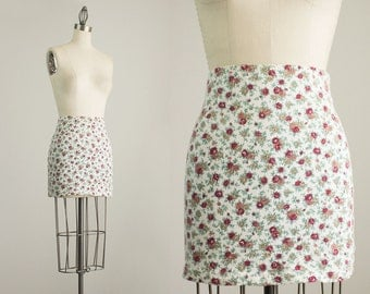 90s Vintage Floral Print Stretch Knit Body Con Mini Skirt / Size Small