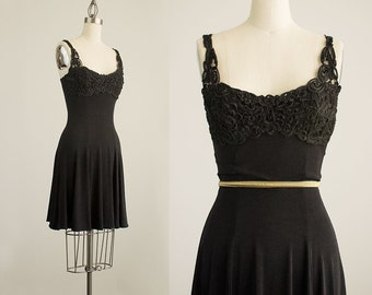 90s Vintage Black Ribbon Lace Bust Spandex Ice Skater Mini Dress / Size Small