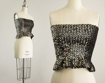 80s Vintage Black Gold And Silver Sequin Stretch Ruffle Trimmed Cropped Body Con Tube Top / Size Small