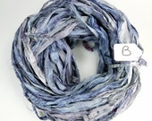 Sari Silk Ribbon, Recycled Silk Sari Ribbon, Blue Ribbon, blue sari ribbon, Denim blue ribbon, silk sari ribbon, blue silk ribbon