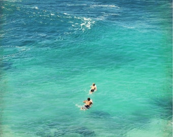 "Beach ocean photography print, surfer art turquoise wall art Hawaii tropical decor ""Paddling to the Waves"""