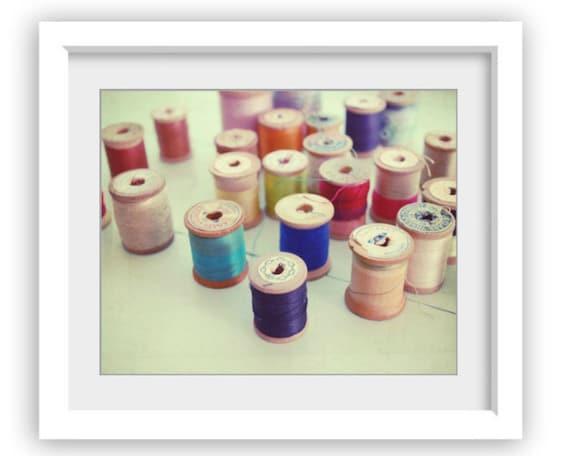 Art Photography / craft room decor / vintage wooden spools / sewing room art / rainbow thread / still life  'Colorful Spools'