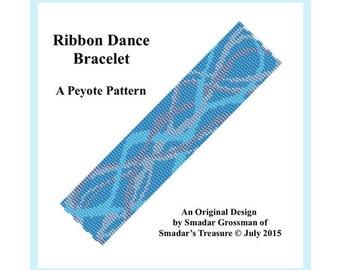 Peyote Beading Pattern 3-Drop Odd-Count Peyote Stitch Bracelet Pattern /  Ribbon Dance Bracelet / Modern Abstract Design. Instant Download