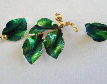 Vintage Enamel Brooch Earrings Set Leaves David Andersen Style