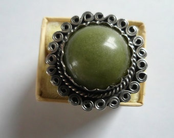 Vintage Sterling Ring Moss Agate Stone Statement Jewelry Southwest Jewelry Size 7