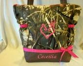 Camo hunting Max 4 HD or brown real tree SALE 16% off duffle medium handbag or great mid size diaper bag personalize choose ribbon