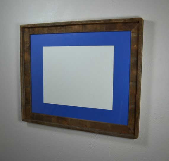16 X 20 Brown Picture Frame With Blue Mat By Barnwood4u On