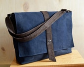 Messenger Bag Men / Waxed Canvas Bag / Crossbody Bag / Waxed Canvas Mens Bag / Shoulder Bag / Work Bag - The Sloane Bag in Navy Blue