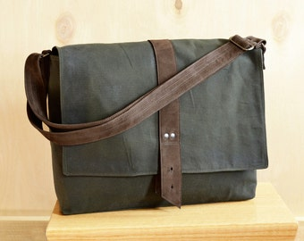 Mens Messenger Bag, Waxed Canvas Messenger Bag, Crossbody Bag, Mens Laptop Bag, Shoulder Bag - The Sloane Waxed Canvas Bag in Hunter Green