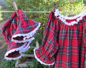 Prairie Nightgown & Mob Cap Baby or Toddler Red Plaid Flannel Eyelet Lace Custom Made
