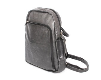 GRUNGE black gray leather 80s BACKPACK mini small UNISEX purse knapsack