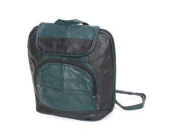 TEAL green black leather 80s 90s BACKPACK unisex knapsack GRUNGE purse