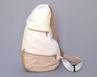 COLORBLOCK pastel leather 80s 90s GRUNGE patchwork KNAPSACK kidney triangle unisex backpack