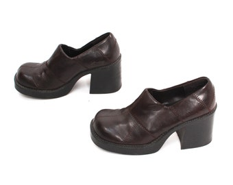 size 7 CLOGS brown vegan leather 80s 90s PLATFORM PATCHWORK high heel slip on ankle boots