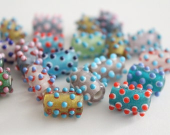 ONLY LOT - Lampwork glass tube beads - assorted colors - 13x10mm (20)