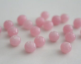 Vintage pink round glass beads . 8-9mm (20)