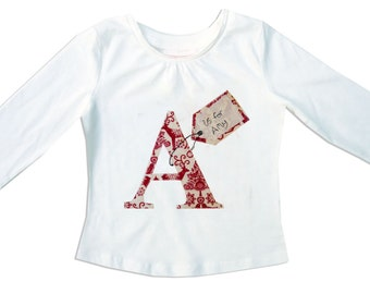 Girls Personalized Christmas Alphabet Tee Shirt / Personalised Letter Xmas T-Shirt /  Name Top / Children's Clothes / Baby Shirt