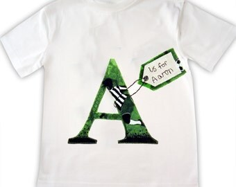 Personalized Alphabet Soccer Tee Shirt / Boys Football Tshirt / Personalised Children's Sports Clothing