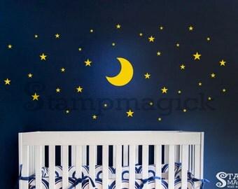 Moon Stars Wall Decal for Baby Nursery - Good Night Vinyl Wall Decor - K413