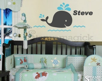 Baby Whale Wall Decal with name for nursery - whale vinyl wall decor graphics stickers - sea wall decal - K132