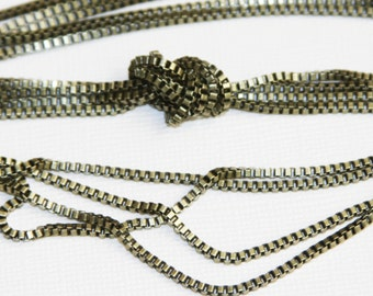 10ft  Antique brass box  chain 2mm, antique brass beading chain