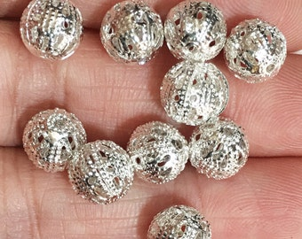 20 pcs of silver plated filigree round 8mm