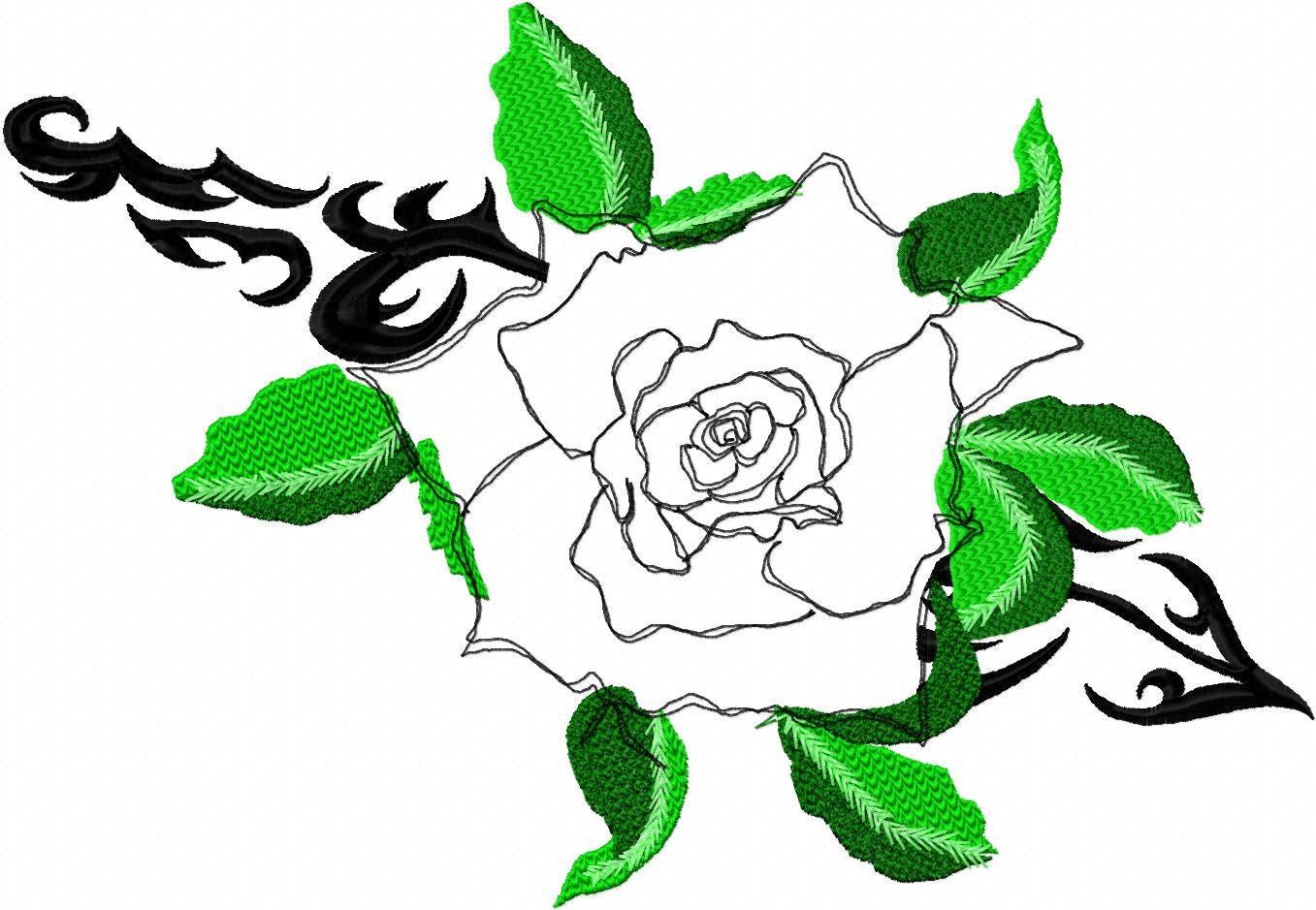 Applique rose tattoo machine embroidery design