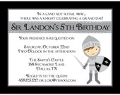 20 Personalized Birthday Invitations   - Knight Design