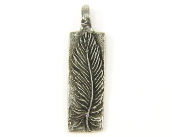 Feather Pendant Silver Pewter Feather Charm To Thine Own Self be True Green Girls Studio Jewelry Pendant for Necklace |S21-3|1