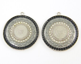 Large Black Gray Silver Medallion Ornate Enamel Round Jewelry Pendant Charms Findings |BL6-11|2