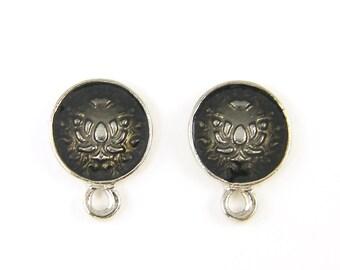 Pair of Silver Black Enamel Earring Posts Stud Earring Finding with Loop |BL5-17|2