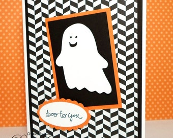 Halloween Card - Hand Stamped Halloween Card - Boo to You - Ghost Card in Black and Orange - Cute Halloween Card for Kids