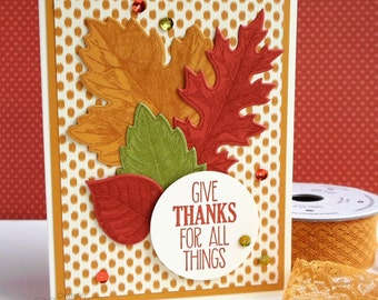 Handmade Thanksgiving Card - Give Thanks Card - Thankful Card - Fall Leaf Card - Fall Thank You Cards