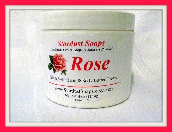 Rose Cream (Handcrafted, moisturizing, Luxurious, aloe, silk, aromatic, gift idea, nourishing) Stardust Soaps jar cream
